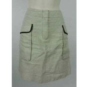 LOFT 4 Straight Skirt Beige Pockets Zipper Front
